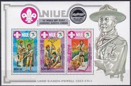 Niue 1983 Organisationen Jugend Youth Pfadfinder Scouts Pathfinder Baden-Powell Jamboree Alberta, Bl. 65 ** - Niue
