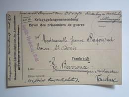"""1917 GEPRUFT FURSTENBERG I MECKL PRISONNIERS DE GUERRE """"LE BARROUX"""" Par MALAUCENE (VAUCLUSE) 89e R.I - Guerre 1914-18"""