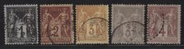 Type Sage - Obliteres - 83 + 85 + 86 + 87 + 88 - Cote 58 € - 1876-1898 Sage (Type II)