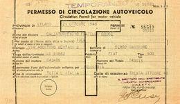 1946 Permesso Di Circolazione - Automobili