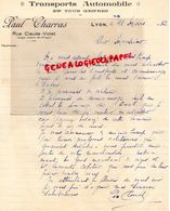 69- LYON- RARE LETTRE MANUSCRITE SIGNEE PAUL CHARRAS- RUE CLAUDE VIOLET -1932 - Transport