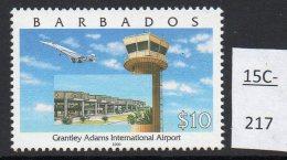 Barbados 2000 Concorde Over Airport $10 Top Value – SG 1166     MNH - Concorde