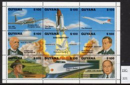 Guyana Space Shuttle Concorde Zeppelin Marconi Train (Shinkansen)  Von Neuman. MNH - Concorde