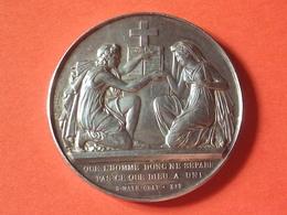 MÉDAILLE DE MARIAGE EN ARGENT 1887  GRAVEUR PETIT F.  Diamètre 39 Mm  25 Grammes - France
