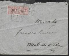 STORIA POSTALE REGNO - ANNULLO TONDO RIQUADRATO CANALE (CN) (p.4) SU BUSTA PER MONTICELLI D'ALBA - 1900-44 Victor Emmanuel III