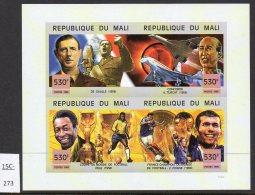 Mali 1999 IMPERF Sheetlet/4 De Gaulle Concorde Turcat World Cup Football Pele Zidane. MNH. - Concorde