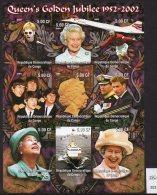 Congo (Kinshasa) 2002 IMPERF Sheetlet QEII Golden Jubilee, Beckham, Concorde, Elton John, Beatles, Ship.  MNH. - Concorde
