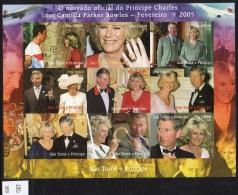 Sao Tome St Thomas 2005 IMPERF Sheetlet/9 Concorde Royal Wedding Prince Charles Camilla.  MNH. - Concorde