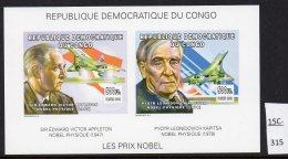 Congo (Kinshasa) 2002 Concorde Appleton Kapitsa Nobel Prize IMPERF Deluxe Sheetlet/2. MNH - Concorde