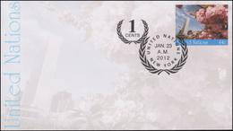 UNO New York Umschlag U 22A Kirschbäume 44+1 Cent 2012, 165x92, FDC 23.1.2010 - New York - Hoofdkwartier Van De VN