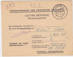 FRANCE GERMANY 1947 (26.5.) P.O.W. RETURN ENV. BOCHUM TO DEPOT 86 FAVERNEY (Ht.Saone) - France