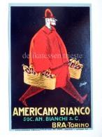 Vecchia Etichetta AMERICANO BIANCO Bianchi BRA TORINO Old Label Maga Illustratore Liquore - Etichette