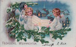 Fröhliche Weihnachten, Angelots Chanteurs, Litho Gaufrée (23.12.08) Pli D'angle - Anges