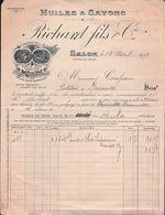 FACTURE RICHARD FILS & Cie à SALON  Pour Un PÂTISSIER à DEAUVILLE SUR MER 1909 - Francia