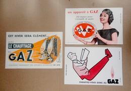 Lot 3 Buvards  Publicitaires Chauffage Au Gaz - Electricity & Gas
