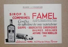 Buvard /carte Postale Publicitaire Sirop Et Comprimés FAMEL Contre Les Affections Des Voies Respiratoires - Chemist's