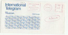 1986 GB BT Cover METER SLOGAN Pmk TELEGRAMME GO WORLD WIDE SEND INTERNATIONAL TELEGRAMS Birmingham Cover - Telecom