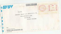 1986 GB Western Union CABLEGRAM COVER Meter Stamps Telecom London - Telecom