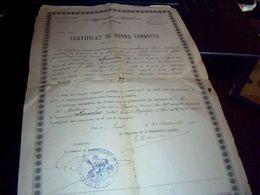 Militaria Certificat De Bonne Conduite Soldat Lemoine 6e Regiment D' Artillerie A Pied Annee 1910 - Documents