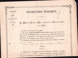 CERTIFICAT D'une Remise De Médaille De Bronze A L'Institutrice D'Ecole Publique à CAEN 14 En 1863 - Diploma & School Reports