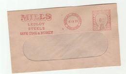 1959 Cover METER Slogan MILLS LEDLOY STEELS Save Time Money , 0/2 UK220 Woodley Stockport  GB Steel Minerals - Minerali