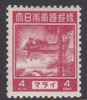 Japan Malaya Occupation Cat 80 1943 Regular Stamp 4c Mint Hinged - Neufs