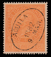 RICOGNIZIONE POSTALE - Effige Di Vittorio Emanuele II (filigrana Scudo Di Savoia) - 10 C. Ocra Arancio - 1874  (usato) - Servizi