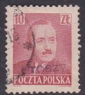 Poland 1950 Revaluation Of Currency Hand Overprinted,10zt Red - Usados
