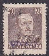 Poland 1950 Revaluation Of Currency Hand Overprinted, 40zt Brown - Usados