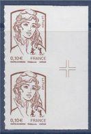 = Marianne Et La Jeunesse Autocollant X2 Faciale 0.10€, Paire Verticale Avec Croix Repère Sur Bord N°849 Neuf - Autoadesivi