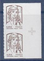 = Marianne Et La Jeunesse 2013 Autocollants X 2 Valeur 0.05€, Paire Verticale N°848 Avec Croix Repère Neuf - Autoadesivi