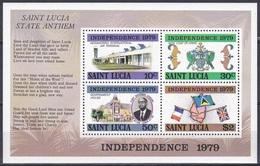 St. Lucia 1979 Geschichte History Unabhängigkeit Independence Flughafen Airport Fahnen Flaggen Flags Wappen, Bl. 16 ** - St.Lucia (1979-...)