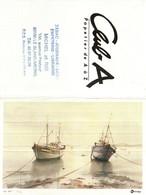 Petit Calendrier De Poche -   1988   Oberthur  - Illustration Noury   Barques - Calendriers