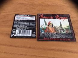 """Etiquette De Bière  """"Bonnets Rouges - Aux Baies De Sureau - BRASSERIE Lancelot Le Roc Saint André (56)» - Bière"""