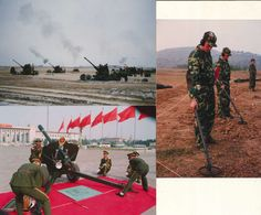 3 Photos Modern Chinese People's Liberation Army Artillery Mine Detectors Soldiers China 1990s Or 2000s ? - Army & War