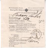 1779    IDRIJA   1888  POŠTNO-PREJEMNI LIST - Slovénie