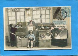 """Cie Générale Transatlantique+paquebot Poste """"la BRETAGNE""""bagages -a Voyagé En 1904 - Paquebots"""