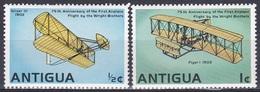 Antigua 1978 Transport Verkehr Flugzeuge Aeroplanes Luftfahrt Aeronautic Motorflug Gebrüder Wright, Mi. 491-2 ** - Antigua & Barbuda (...-1981)
