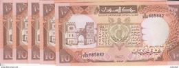 SUDAN 10 POUND 1990 P- 41c Lot X5 UNC NOTES CV=$125 - Soedan