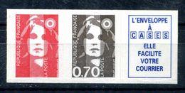 N° 2824b BRIAT 2827 +2824 + VIGNETTE NEUF ** - 1989-96 Marianne Du Bicentenaire