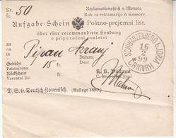 1781    ČRNI  VRH  NAD IDRIJO    1899 POŠTNO-PREJEMNI LIST - Slovénie