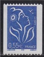 = Roulette Marianne Lamouche 0.55€ ITVF Bleu 3807, Numéroté à Droite 125 Neuf - Rollen