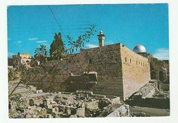 1972  ISRAEL Postcard Panorama JERUSALEM WESTERN WALL EVACUATIONS  Herzliyya To GB Stamps Cover Archaeology - Israel