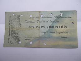 Les Cars Jampierre Carte Hebdomadaire De Travail Autobus N° 8750 - 4 Sections - Transports