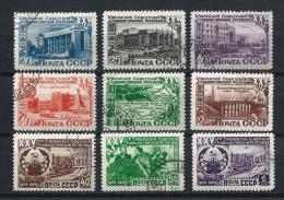 URSS458) 1950 -25°Anniv.rio Rep.che UZBEKISTAN E TURKMENISTAN  9 Val. USED - 1923-1991 URSS