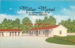 278385-Nebraska, Columbus, Miller Motel, Linen Postcard, Mid-State Speciality Co No 19,712F - Columbus