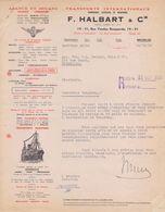 1950: Lettre De ## F. HALBART & Cie, Rue Vanden Boogaerde, 19-21, BR. ## Aux ## Anc. Ets. H.L. BECKER Fils & C°, Rue ... - Transport