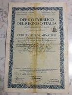 DEBITO PUBBLICO DEL REGNO D'ITALIA /  Certificato Nominativo - Lire Cento _  1934 - Non Classificati