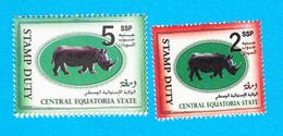 SOUTH SUDAN Shoset 2 & 5 SSP Revenue / Fiscal Stamp Central Equatoria State RHINO Timbres Fiscaux Soudan Du Sud RARE! - South Sudan