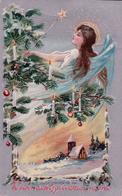 Weihnachtsglückwünschel, Ange Et Sapin De Noël, Litho Gaufrée (24.12.08) Pli - Anges